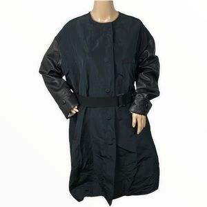 Vera Wang Collection Trench Coat Black Belted Sz 0